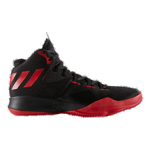 c293caf7e612 adidas Men s Dual Threat Basketball Shoes - Scarlet Black White ...