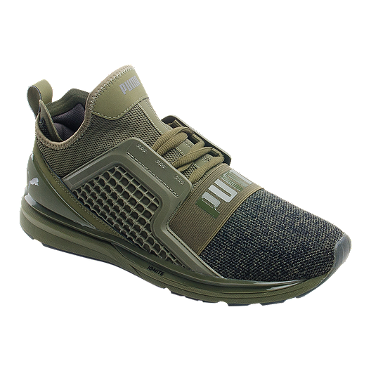 903784197 PUMA Men's Ignite Limitless Knit Shoes - Olive/Black   Sport Chek
