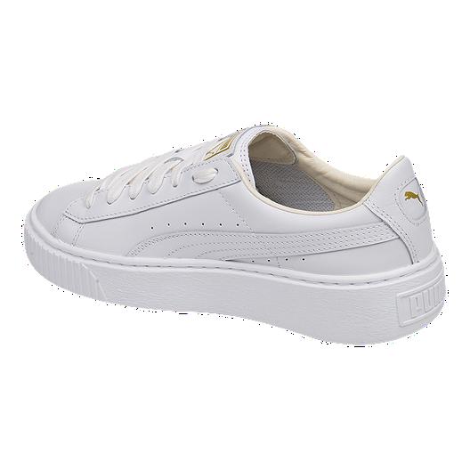 check out 3b67a 6ea86 PUMA Women's Basket Platform Core Leather Shoes - White/Gold ...