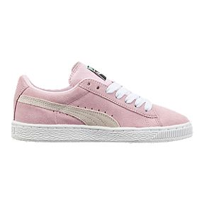 huge selection of 7280e 3a3c8 PUMA Girls' Suede Grade School Shoes - Pink/White