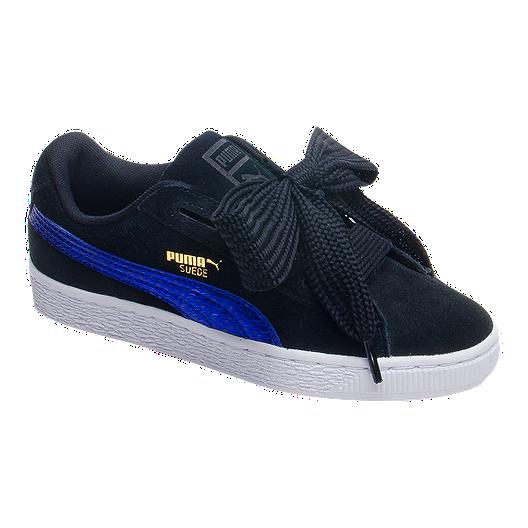 Puma Shoes Suede School Blackpurplewhite Girls' Grade Heart XOkuiPZ