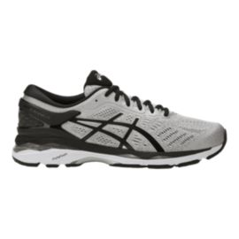 ASICS Men's Gel Kayano 24 2E Wide Width Running Shoes - Silver/Black/Grey