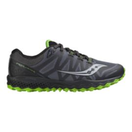 Saucony Men's Peregrine 7 Running Shoes - Grey/Black/Green