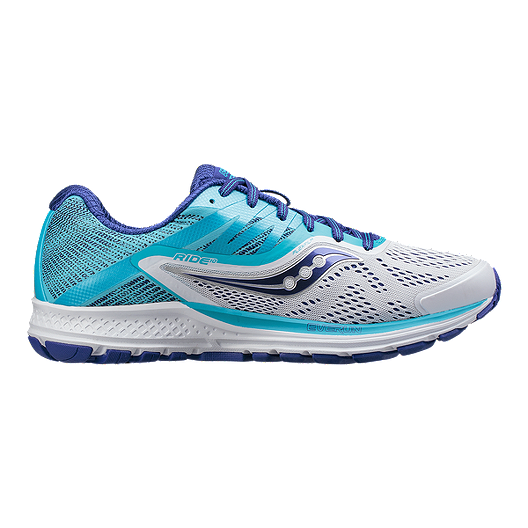 22a232890a4 Saucony Women s Everun Ride 10 Wide Width Running Shoes - White Blue ...