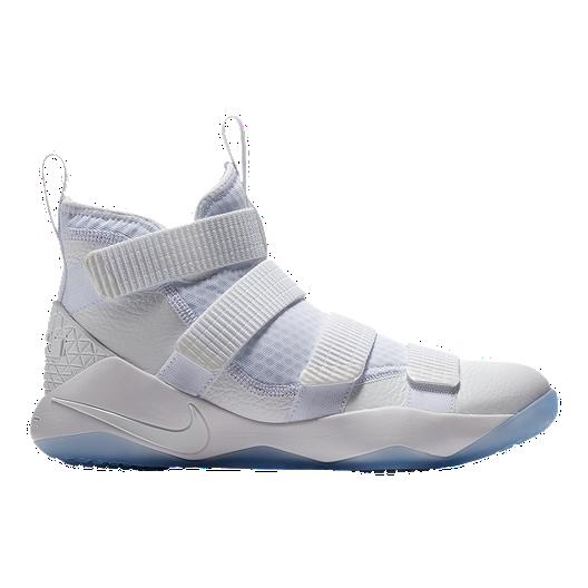 newest 1b33b 201fe Nike Men s LeBron Soldier XI Basketball Shoes - White Platinum   Sport Chek