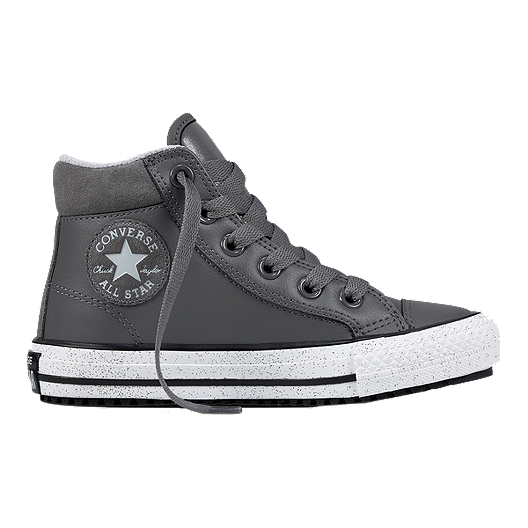 1055c731fa55a1 Converse Kids  All Star Leather Boots - Grey White