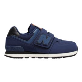 New Balance Kids' 574 U Strap Preschool Shoes - Navy/White