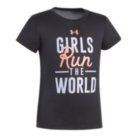 Under Armour Girls' 4-6X Run The World Short Sleeve T Shirt