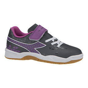 Diadora Girls' Burst Indoor Preschool Velcro Soccer Shoes