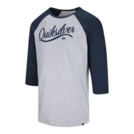 Quiksilver Men's Sea Scroll Raglan 3/4 T Shirt - Athletic Heather/Navy Blazer