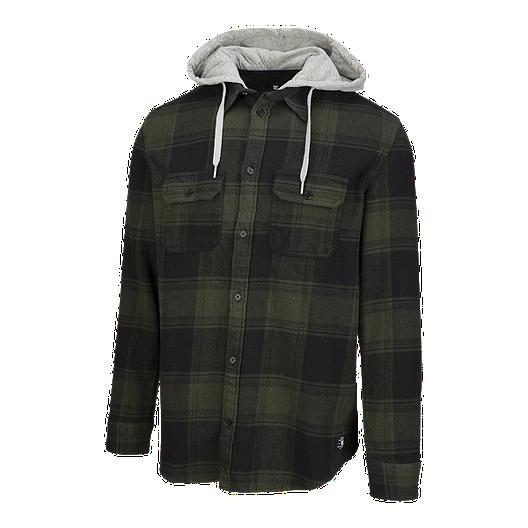 c62e879e5 DC Men's Runnels Long Sleeve Hooded Flannel - Dark Olive | Sport Chek