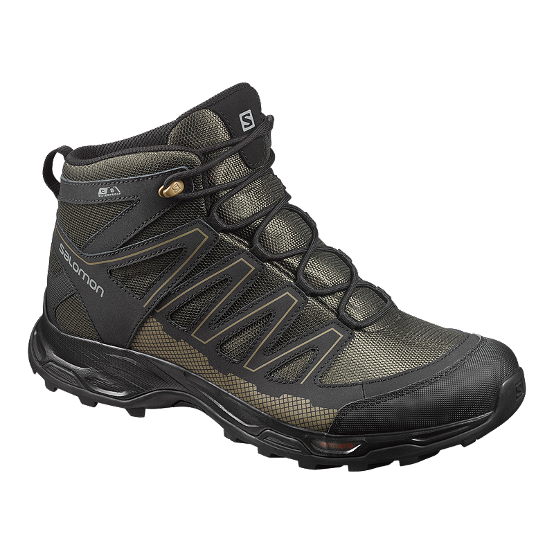 cb2cf532 Salomon Men's Pathfinder Mid Waterproof Hiking Boots - Black/Olive