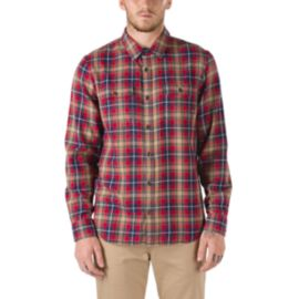 Vans Men's Sycamore Classic Flannel Long Sleeve Shirt - Chili Pepper/Khaki