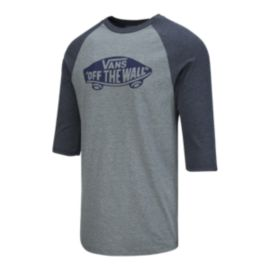 Vans Men's Off The Wall Raglan 3/4 T Shirt - Heather Grey/Navy Heather