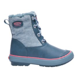 Keen Girls' Elsa Waterproof Winter Boots - Blue/Coral