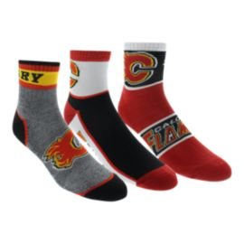 Calgary Flames Quarter Socks - 3-Pack