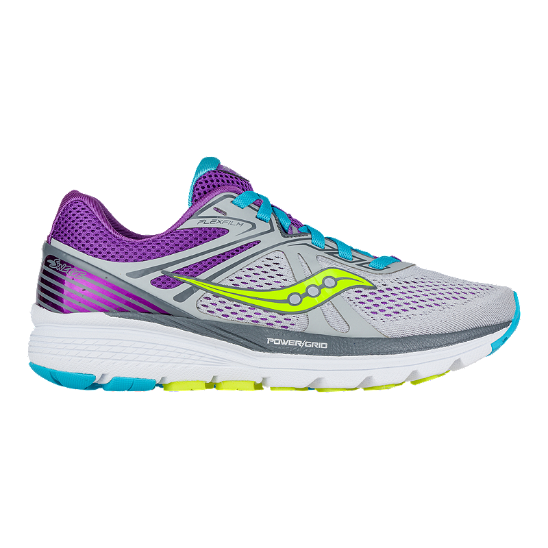 Saucony Women S Powergrid Swerve Running Shoes Grey Purple Blue