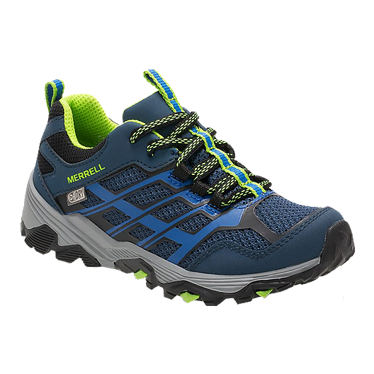 d494955f56d Merrell Kids' Moab FST Low Waterproof Grade School Hiking Shoes - Blue/Green