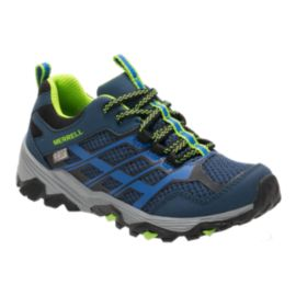 Merrell Kids' Moab FST Low Waterproof Grade School Hiking Shoes - Blue/Green