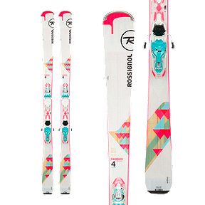 Rossignol Famous 4 Xpress Women's Skis 2017/18 & LOOK Xpress 10 B83 Women's Ski Bindings White/Turquoise