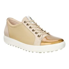 ECCO Women's Casual Hybrid Metallic Golf Shoes - White/Gold