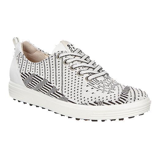 b5c4469072 ECCO Women's Casual Hybrid Knit Golf Shoes - White/Black | Sport Chek
