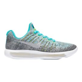 Nike Girls' Lunarepic Flyknit 2 Grade School Shoes - Grey/Silver/Blue