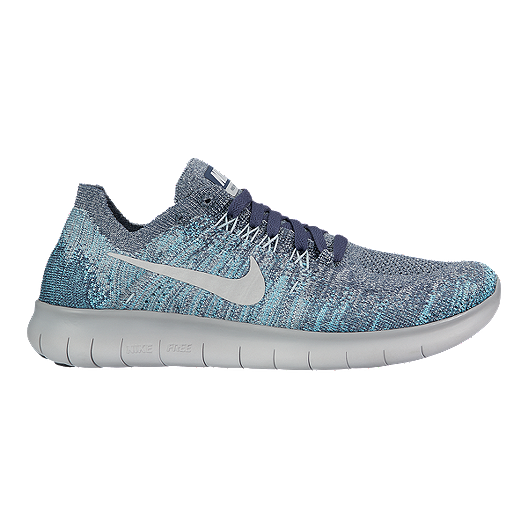 1415377c30a2 Nike Kids  Free RN Flyknit Grade School Shoes - Blue Grey White ...