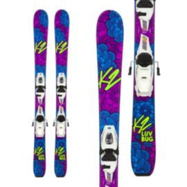 K2 Luv Bug 4.5 Girl's Skis 2017/18 & Marker FDT 4.5 Junior Ski Bindings 2017/18 - White/Black