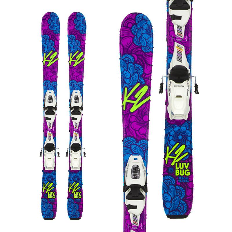 K2 Luv Bug 4.5 Girl's Skis 2017/18 & Marker FDT 4.5 Junior