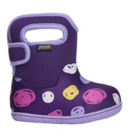 Bogs Toddler Girls' Classic Sketched Dots Winter Boots - Purple/Multi
