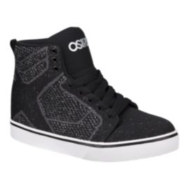 Osiris Girls' Sky High Glitter Knit Grade School Skate Shoes - Black/White