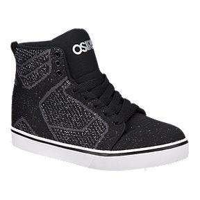 8fd579c246 Osiris Girls' Sky High Glitter Knit Grade School Skate Shoes - Black/White