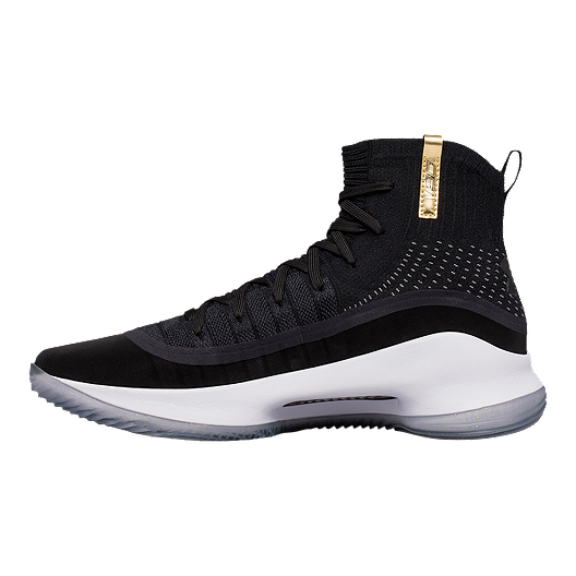 Under Armour Men s Curry 4 Basketball Shoes - Black White Gold ... 1e3b30b570