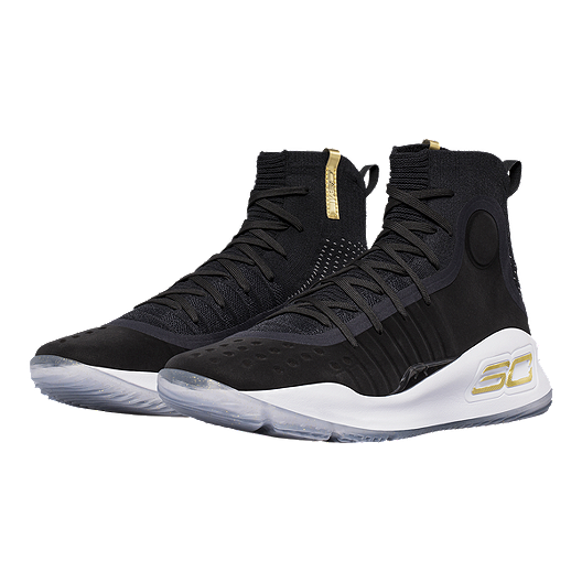 b5a0d1cf9eb7 Under Armour Men s Curry 4 Basketball Shoes - Black White Gold ...