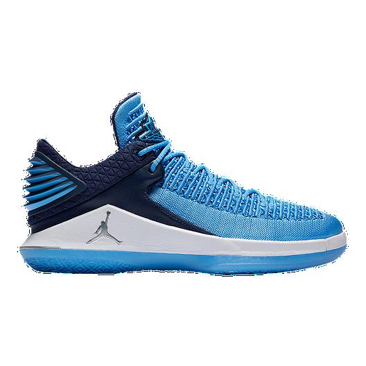 bf4cb38c7abc Nike Men s Jordan XXXII Low Basketball Shoes - Blue Silver Black ...