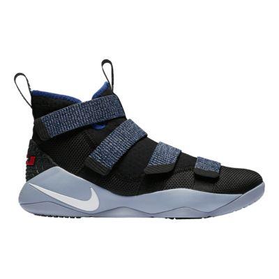 Nike Men\u0027s LeBron Soldier XI Basketball Shoes - Black/White/Blue