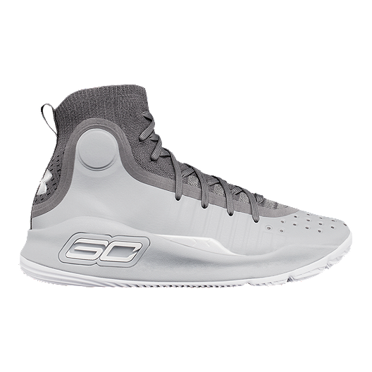 25b9aa47245c Under Armour Kids  Curry 4 Grade School Basketball Shoes - Grey White