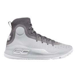 Under Armour Kids' Curry 4 Grade School Basketball Shoes - Grey/White