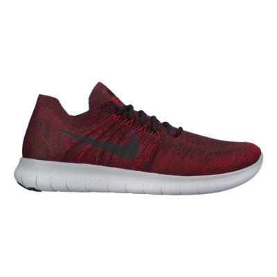 Nike Free Mens Rn Flyknit 2017 Chaussures De Course - Rouge  / Gris Noir
