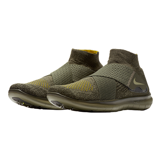 Nike Men's Free RN Motion Flyknit 2017 Running Shoes Olive Green