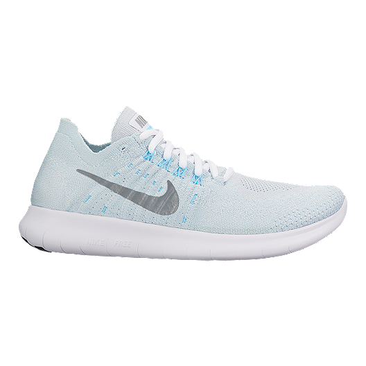 7459062b7d16 Nike Women s Free RN Flyknit 2017 Running Shoes - Silver White ...