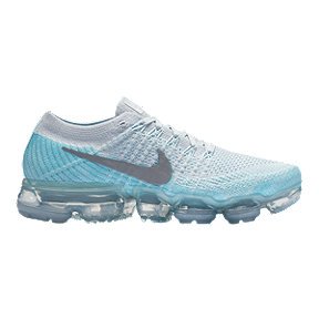Nike Women's Air VaporMax Flyknit Running Shoes - Platinum/Silver/Blue