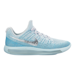 Nike Women s LunarEpic Low Flyknit 2 Running Shoes - Blue Silver ... 4e72869f8