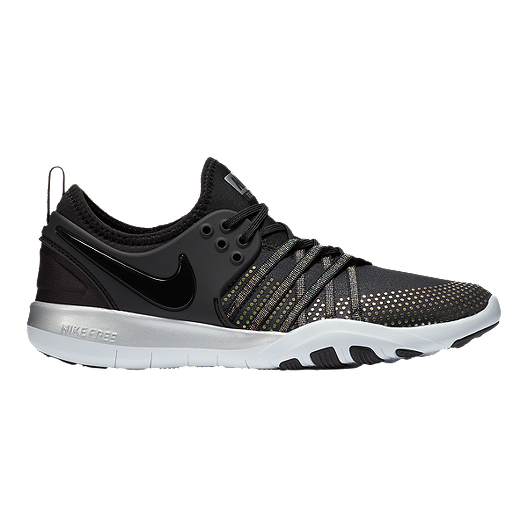 adfcae4fe7fe7 Nike Women s Free TR 7 Metallic Training Shoes - Black Platinum ...