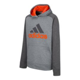 adidas Boys' Fusion Pullover Hoodie - Grey Five Heather / Orange Grey