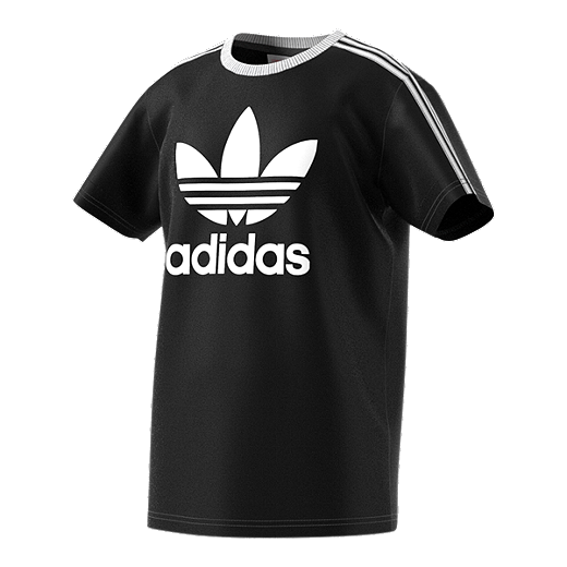 6096aa19fb0b adidas Original Girls' 3 Stripe T Shirt - BLACK/WHITE
