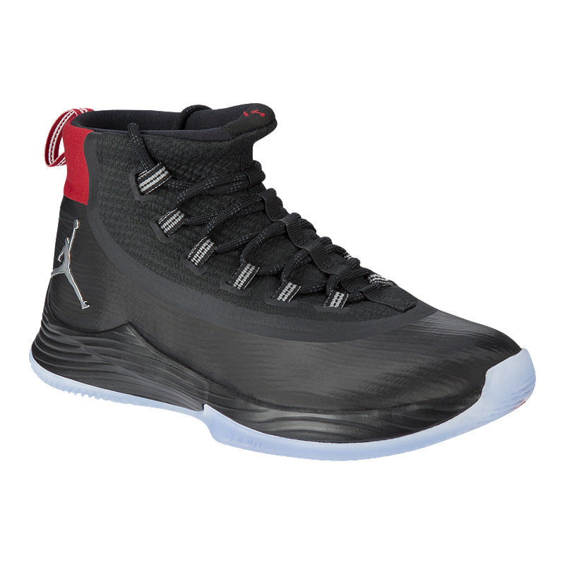 Nike Men s Jordan Ultra Fly 2 Basketball Shoes - Black Silver Red ... 45f74e6e283