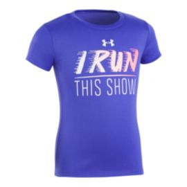 Under Armour Girls' 4-6X I Run This Show Short Sleeve T Shirt