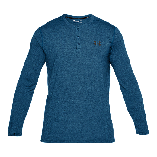 d735f5dd6 Under Armour Men's Threadborne Long Sleeve Henley Training Shirt - MOROCCAN  BLUE/GRAPHITE
